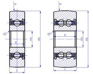 drawing of track roller bearing LR series