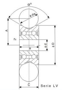 drawing of track roller bearing LV series