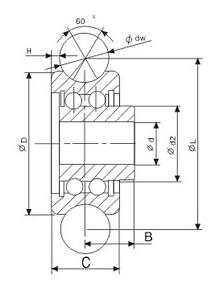 drawing of track roller bearing SG series