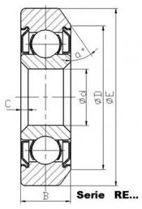 drawing of RE track roller bearing