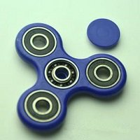 blue ABS hand spinner with black rubber seals and Si3N4 ceramic balls