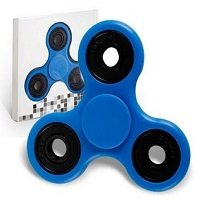 blue ABS hand spinner with black rubber seals and black coating steel