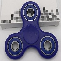 blue ABS hand spinner with black rubber seals