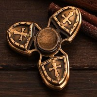 brass three crusader hand spinner fidget
