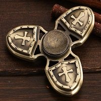 bronze three crusader hand spinner fidget