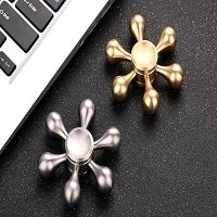 gold and silver six arms hand spinner
