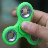 green ABS hand spinner with silver iron counterweight