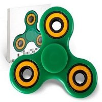 green ABS hand spinner with yellow rubber seals and black coating steel