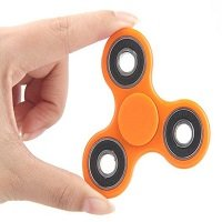 orange ABS hand spinner with black rubber seals
