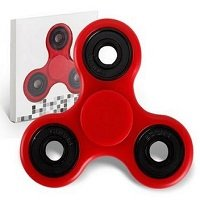 red ABS hand spinner with black rubber seals and black coating steel