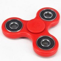 red ABS hand spinner with black rubber seals