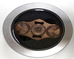 round metal box package for cents coin spinner