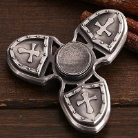 silver three crusader hand spinner fidget