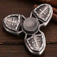 silver three crusader hand spinner fidget