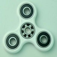 white ABS hand spinner with black rubber seals and ZrO2 ceramic balls