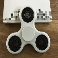 white ABS hand spinner with black rubber seals and black coating steel