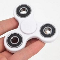white ABS hand spinner with black rubber seals