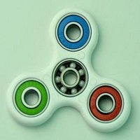 white ABS hand spinner with mixed color rubber seals and ZrO2 ceramic balls