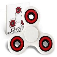 white ABS hand spinner with red rubber seals and black coating steel