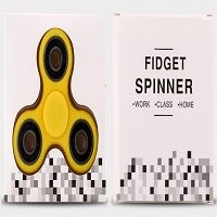 yellow ABS hand spinner with black rubber seals