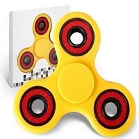 yellow ABS hand spinner with red rubber seals and black coating steel
